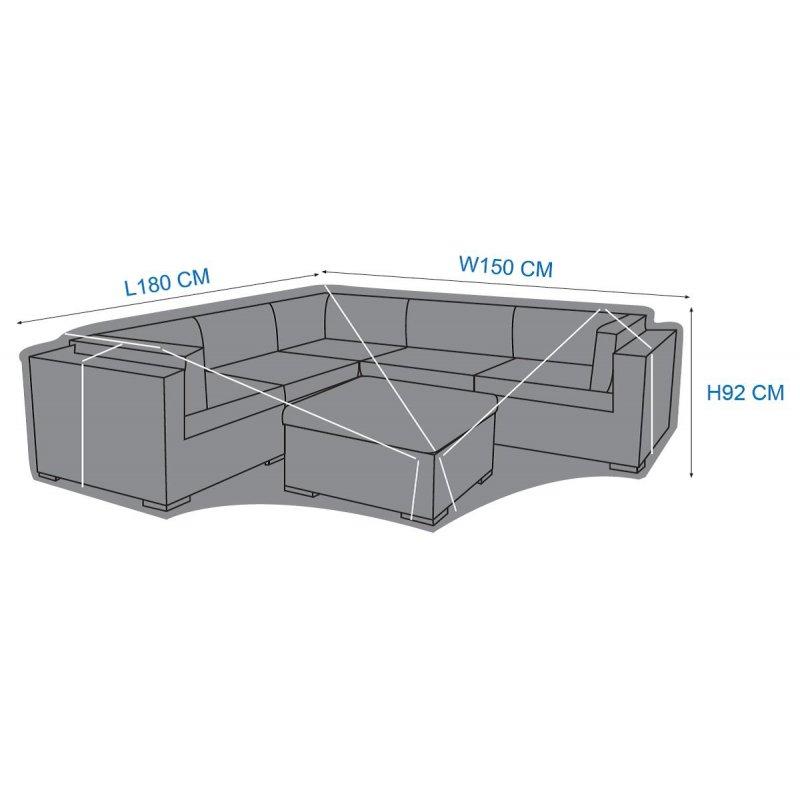 Abdeckhaube Schutzhülle Lounge Möbel L-förmig 180 x 150 x 92 cm Größe S