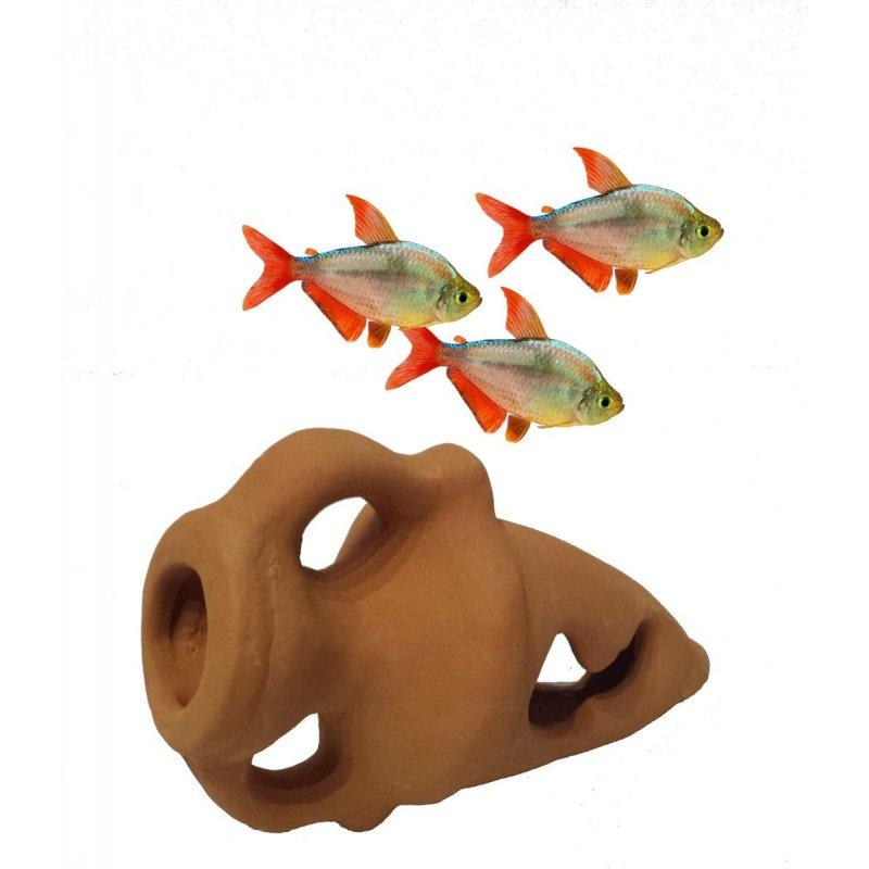 Ton Aquarium Krug 2 Amphore Dekohohle Hohle Dek