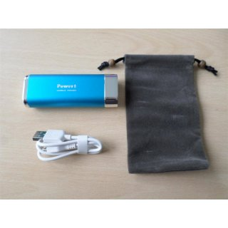 Powerbank 5200 mAh mit LED-Lampe, blau