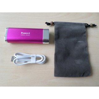 Powerbank 5200 mAh mit LED-Lampe, pink